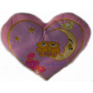 Голямо плюшено сърце с двойка мечета на луна