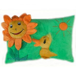 Детска плюшена възглавница с цвете и животно
