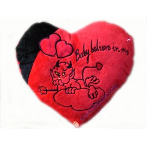 Сърце плюш с бродерия на дяволче - Baby believe in me