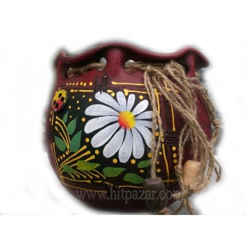 Керамична саксия - Торба, м, кафява