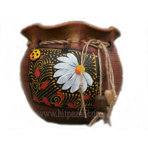 Керамична саксия - Торба, средна, кафява