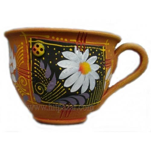 Керамична саксия - Чаша, кафява
