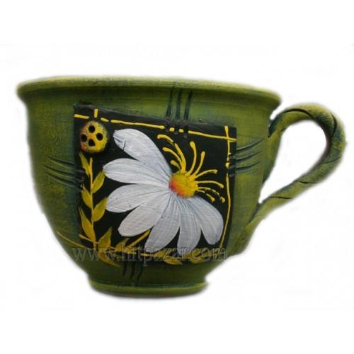 Керамична саксия - Чаша, зелена