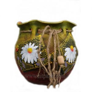 Керамична саксия - Торба, зелена