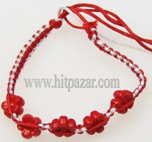 Мартеница гривна бяло и червено с Цвете 1785