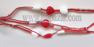 Мартеница гривна бяло и червено със сърце 1656