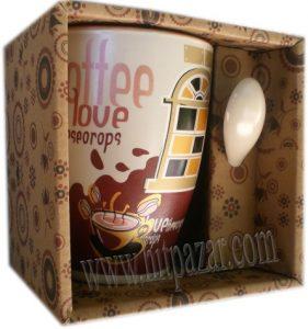 Комплект Керамична чаша с лъжичка
