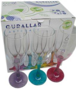 Чаши шампанско от цветно стъкло Coral