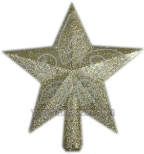 Връх брокатена звезда за Коледна и новогодишна елха