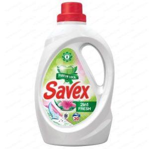 SAVEX Течен препарат за пране - 2 in 1, Fresh, Parfum Lock, 1.3 Л