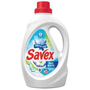 SAVEX Течен препарат за пране - 2 in 1, White, Parfum Lock, 1.3 Л