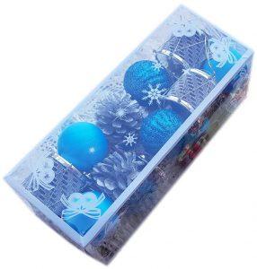 Коледен комплект Топки за украса на елхата и дома - светло син