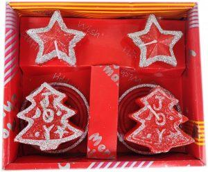 Подаръчен комплект коледни свещи в червено