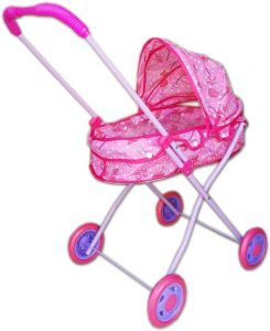 Детска количка за кукли метална с козирка, зимна за легнала кукла